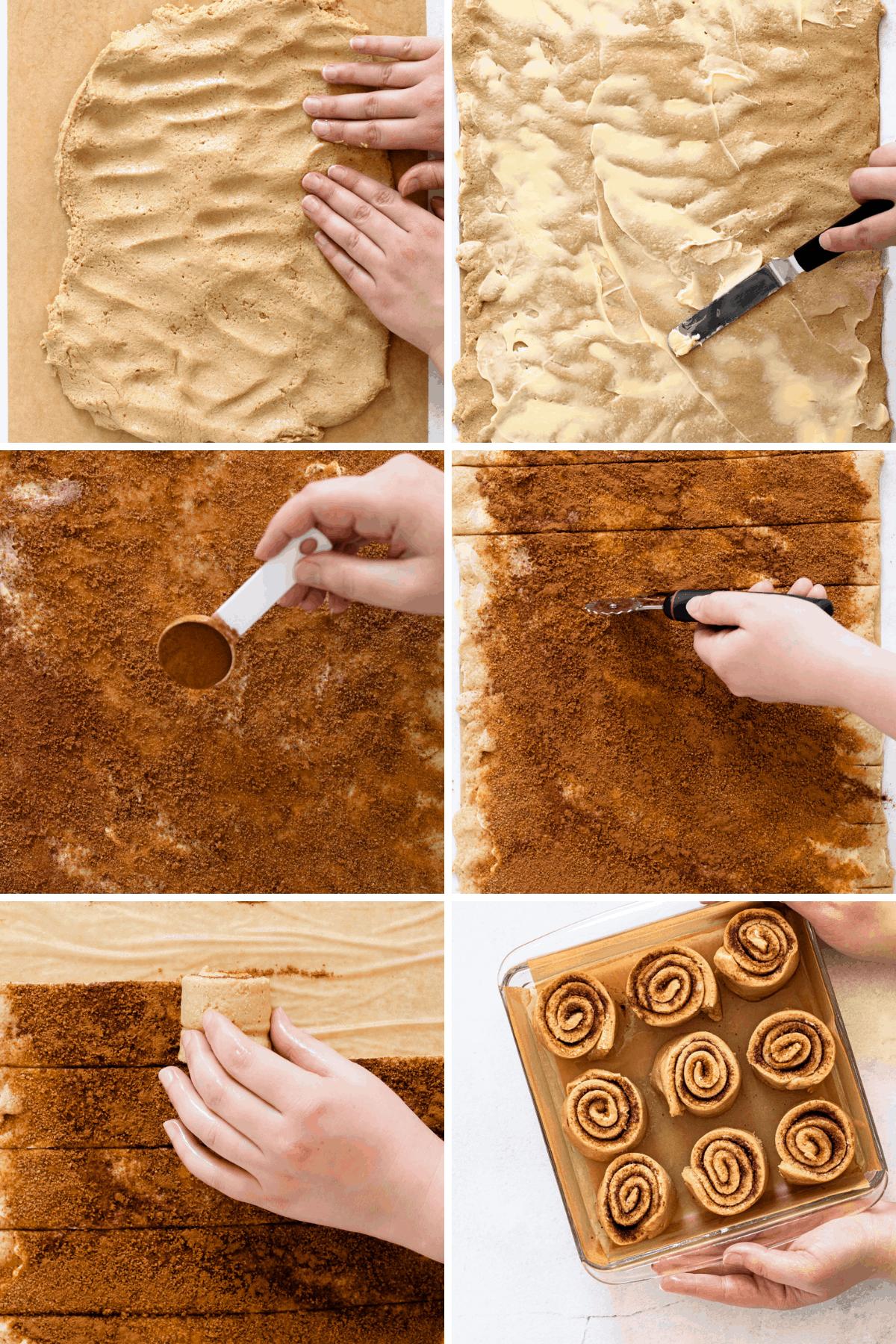 Rolling gluten-free cinnamon rolls.