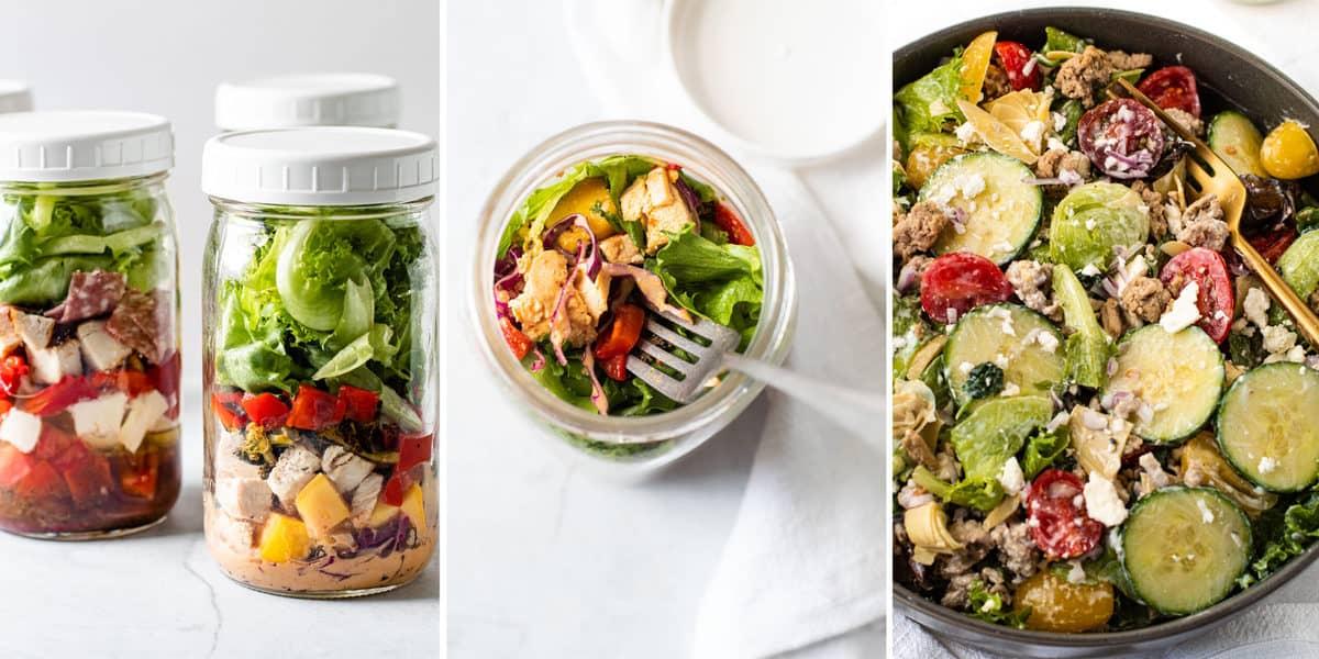 Ideas of how to serve mason jar salads.