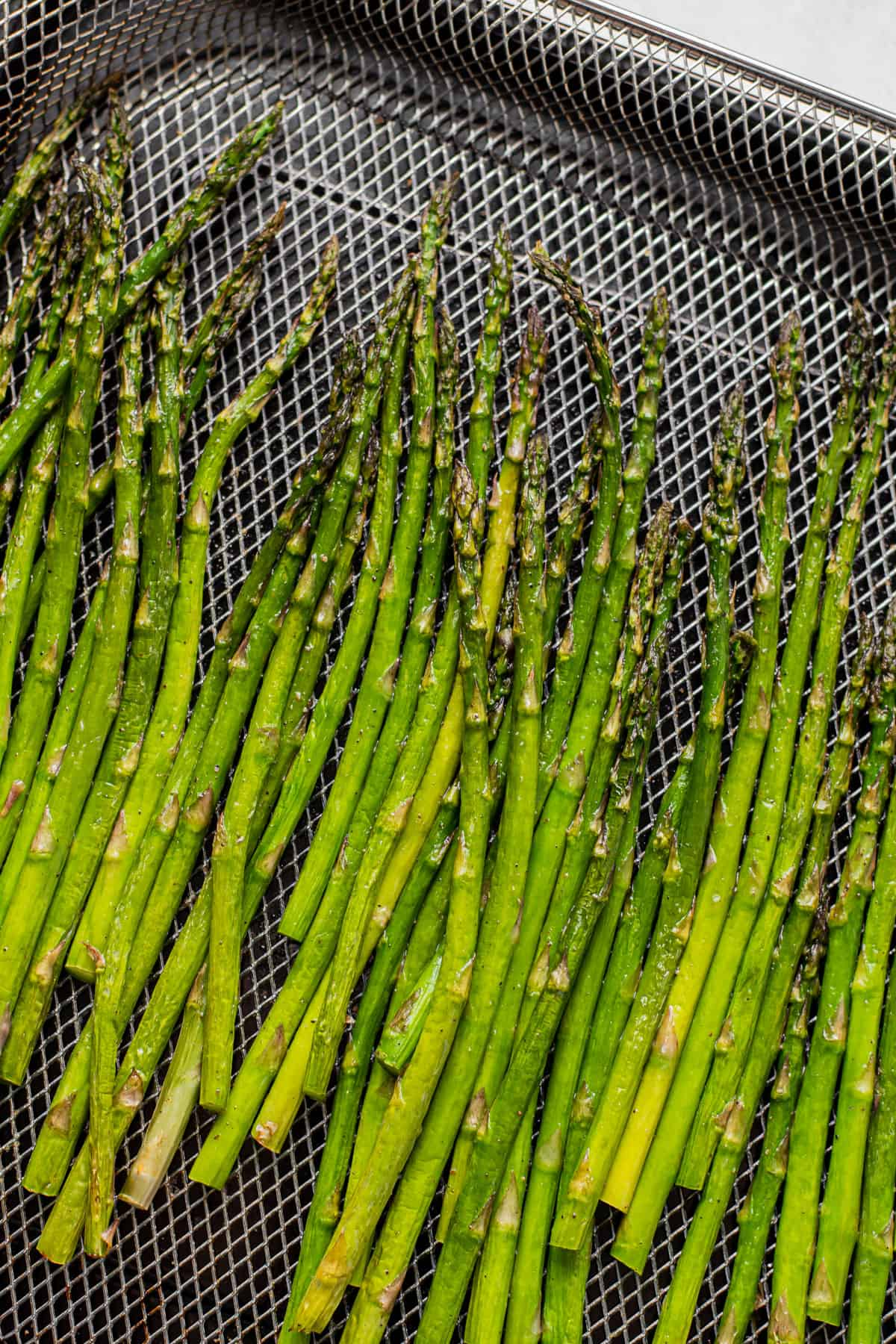 Asparagus cooked in the air fryer.