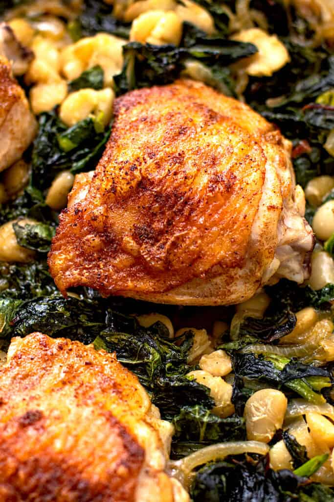Chicken thighs with spring greens.