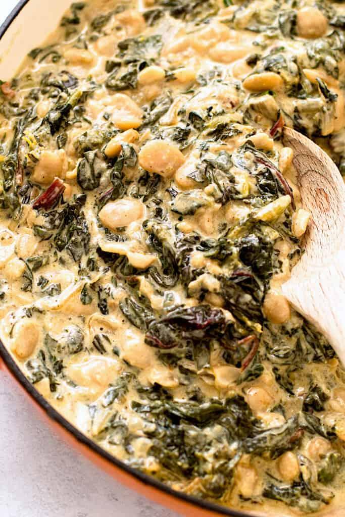 A pan full of creamy greens.