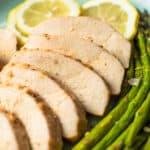 Slices of lemon pepper chicken breast.