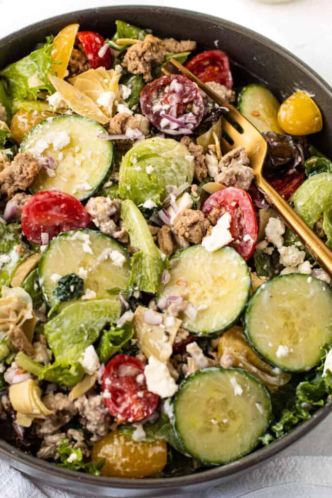 A tossed mediterranean salad.