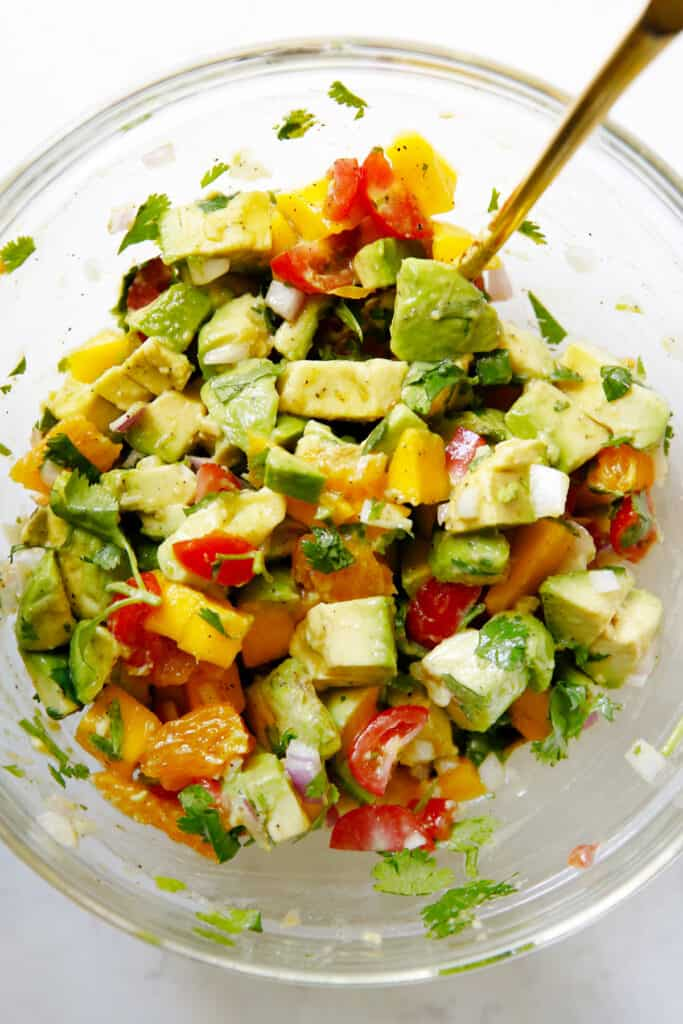 Avocado salsa in a bowl.