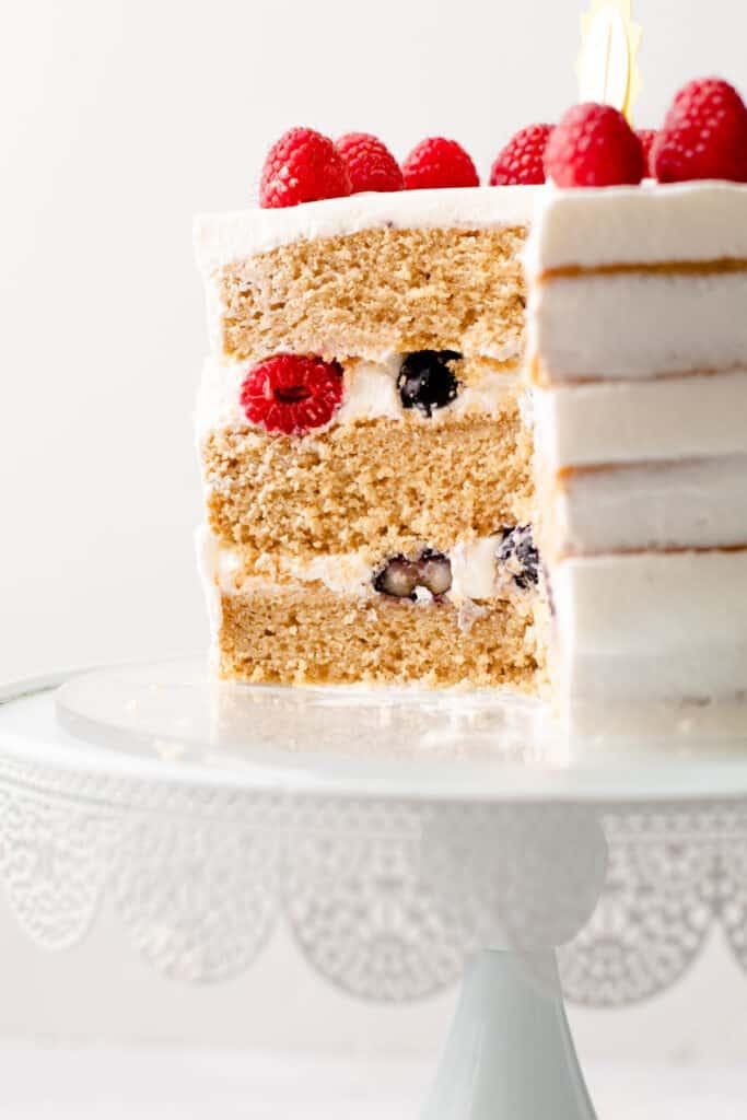 A slice of no sugar added smash cake.