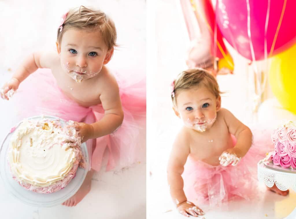 Baby girl smashing a cake.