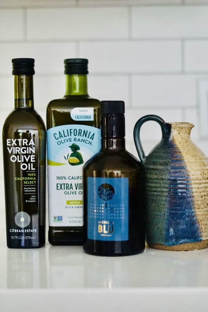 Bottles of olive oil.