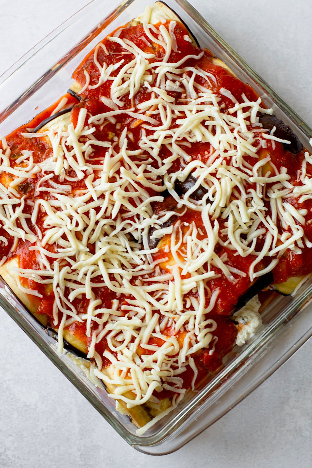 Eggplant rollatini assembled, but not baked.