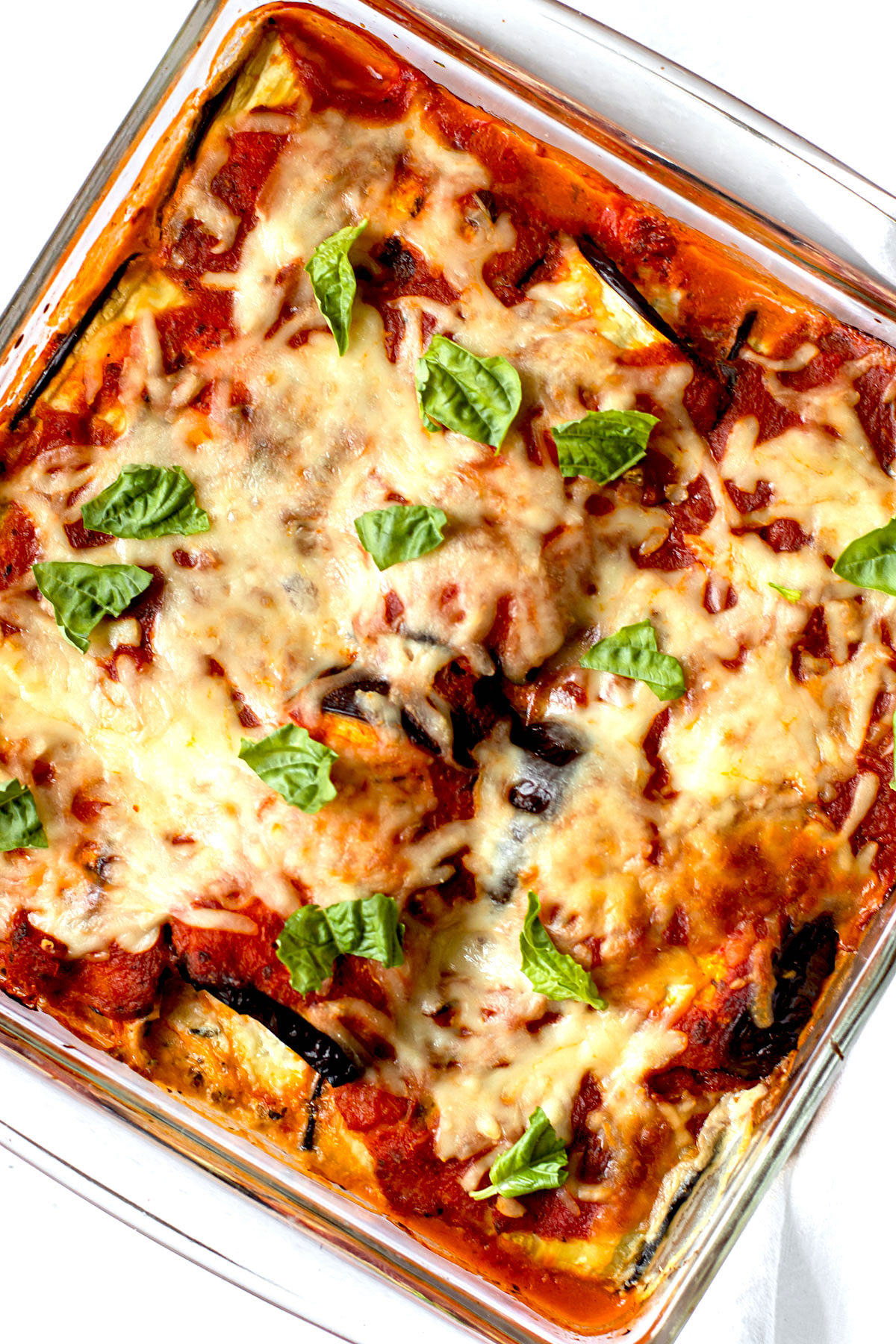 Eggplant rollatini bake with melty cheese and basil.