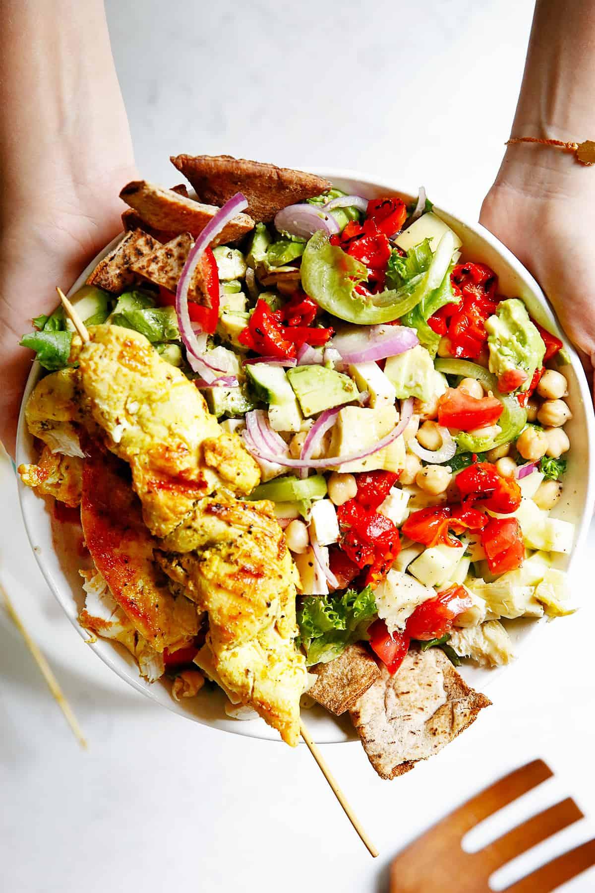 Greek kebabs with Greek Salad.