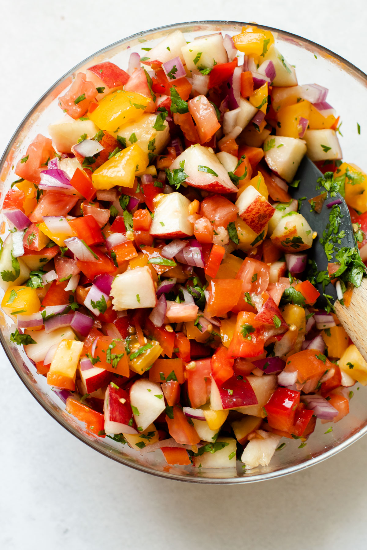 Peach salsa with tomatoes for pork.