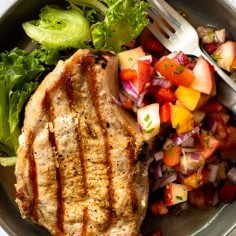 Grilled Pork Chops with Peach Salsa
