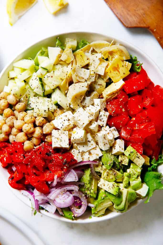 Ingredients for a greek salad