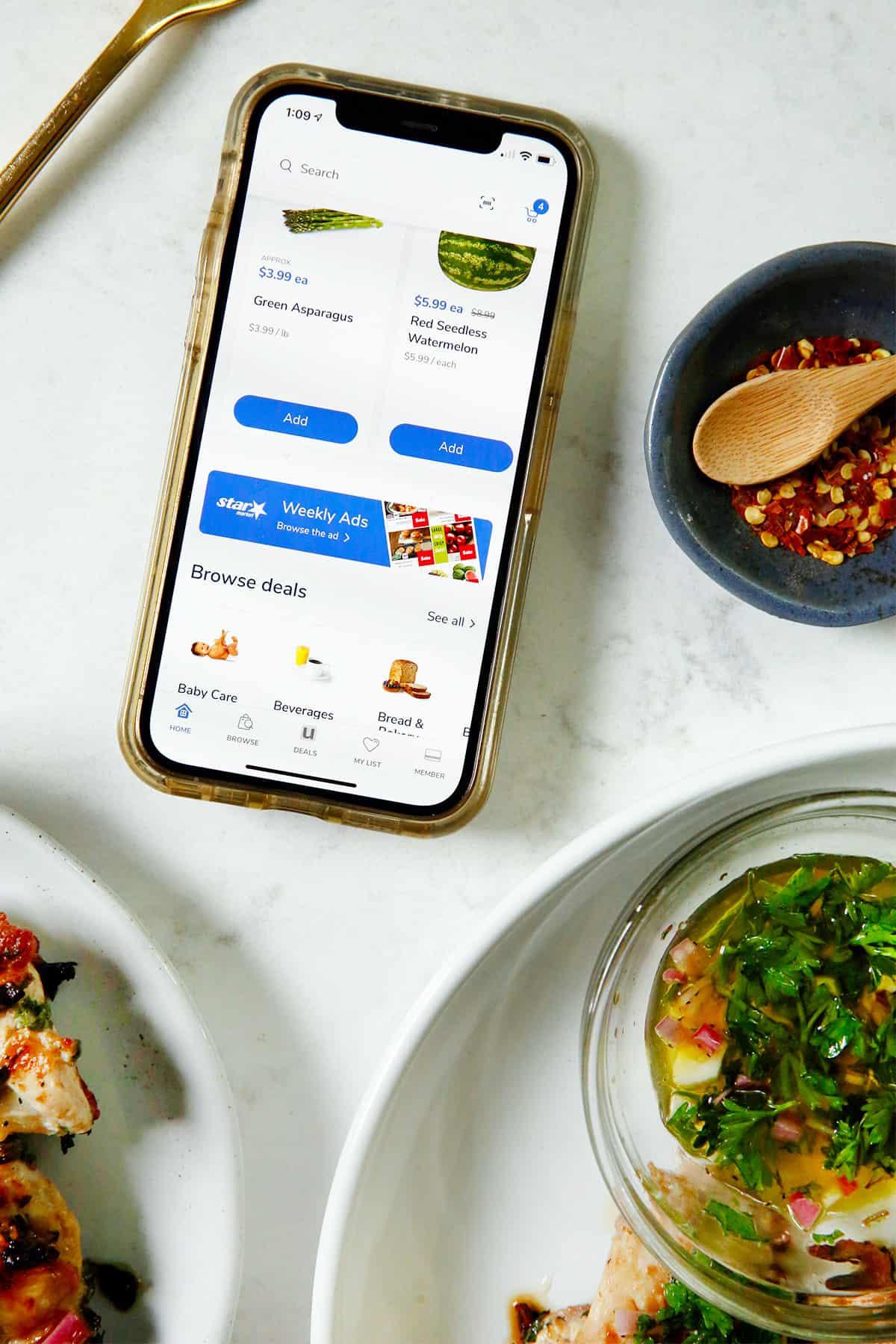 Shopping for Chimichurri Chicken Thighs via Star Market App