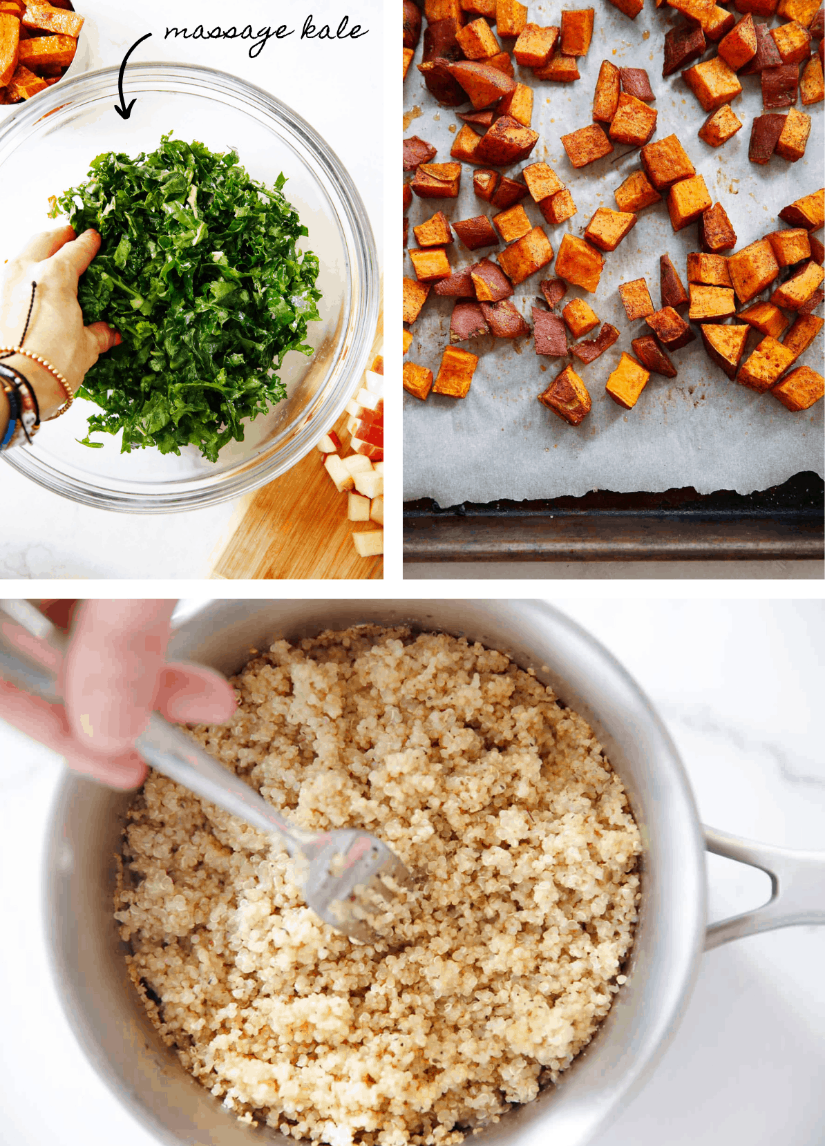 Ingredients for Kale Quinoa Salad with sweet potatoes