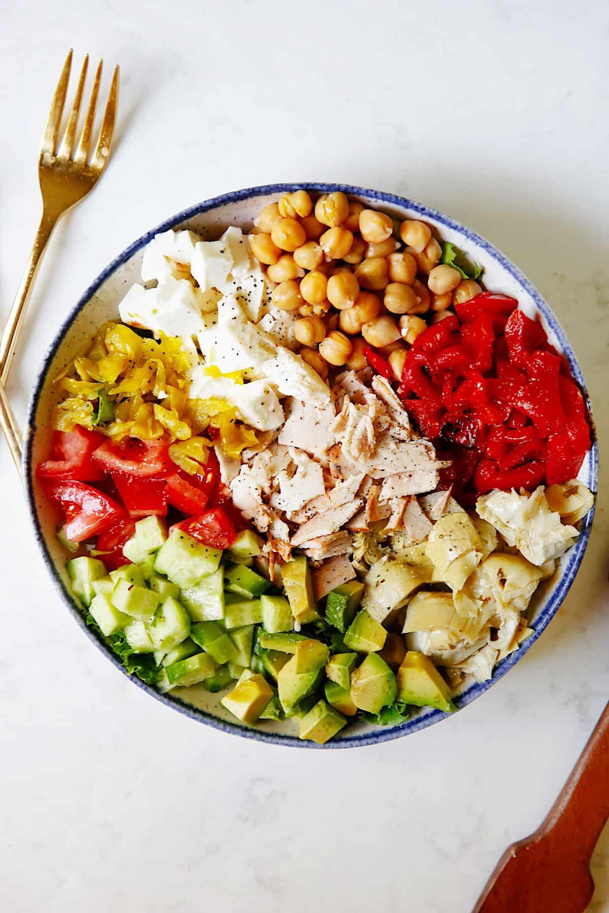 chopped salad recipe in a bowl