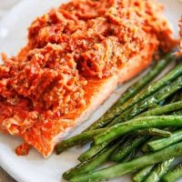 Salmon topped with puttanesca.